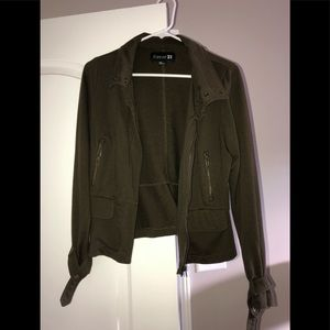 Olive green military jacket.
